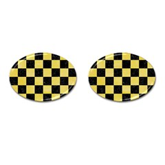 Square1 Black Marble & Yellow Watercolor Cufflinks (oval)