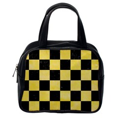 Square1 Black Marble & Yellow Watercolor Classic Handbags (one Side)