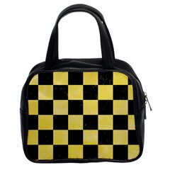 Square1 Black Marble & Yellow Watercolor Classic Handbags (2 Sides)