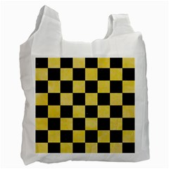 Square1 Black Marble & Yellow Watercolor Recycle Bag (two Side)