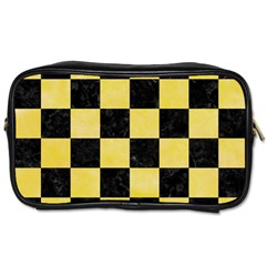 Square1 Black Marble & Yellow Watercolor Toiletries Bags 2 Side