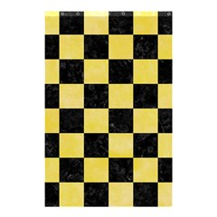 Square1 Black Marble & Yellow Watercolor Shower Curtain 48  X 72  (small)