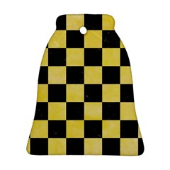 Square1 Black Marble & Yellow Watercolor Bell Ornament (two Sides)