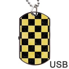 Square1 Black Marble & Yellow Watercolor Dog Tag Usb Flash (two Sides)