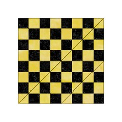 Square1 Black Marble & Yellow Watercolor Acrylic Tangram Puzzle (4  X 4 )