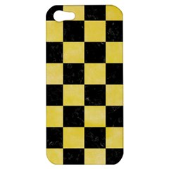 Square1 Black Marble & Yellow Watercolor Apple Iphone 5 Hardshell Case