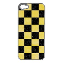 Square1 Black Marble & Yellow Watercolor Apple Iphone 5 Case (silver)