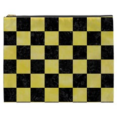 Square1 Black Marble & Yellow Watercolor Cosmetic Bag (xxxl)