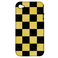Square1 Black Marble & Yellow Watercolor Apple Iphone 4/4s Hardshell Case (pc+silicone)