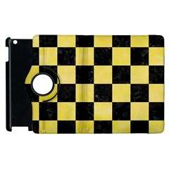 Square1 Black Marble & Yellow Watercolor Apple Ipad 2 Flip 360 Case