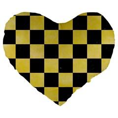 Square1 Black Marble & Yellow Watercolor Large 19  Premium Heart Shape Cushions