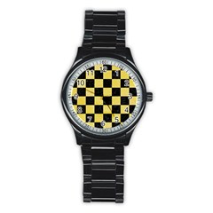 Square1 Black Marble & Yellow Watercolor Stainless Steel Round Watch