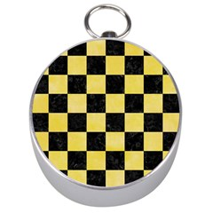 Square1 Black Marble & Yellow Watercolor Silver Compasses