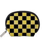 SQUARE1 BLACK MARBLE & YELLOW WATERCOLOR Accessory Pouches (Small)  Front