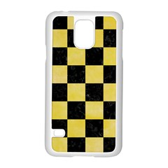 Square1 Black Marble & Yellow Watercolor Samsung Galaxy S5 Case (white)