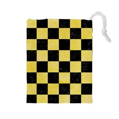 Square1 Black Marble & Yellow Watercolor Drawstring Pouches (large)