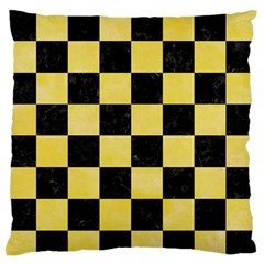 Square1 Black Marble & Yellow Watercolor Large Flano Cushion Case (two Sides)