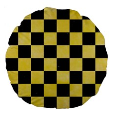 Square1 Black Marble & Yellow Watercolor Large 18  Premium Flano Round Cushions