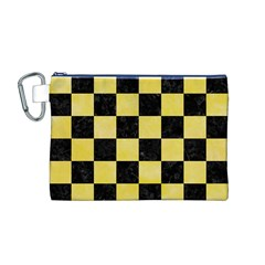 Square1 Black Marble & Yellow Watercolor Canvas Cosmetic Bag (m)