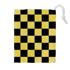 Square1 Black Marble & Yellow Watercolor Drawstring Pouches (extra Large)