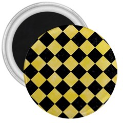 Square2 Black Marble & Yellow Watercolor 3  Magnets