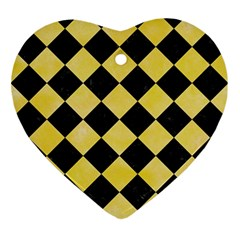 Square2 Black Marble & Yellow Watercolor Ornament (heart)
