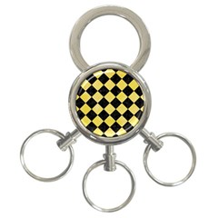 Square2 Black Marble & Yellow Watercolor 3 Ring Key Chains