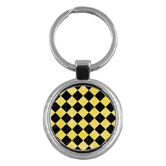 Square2 Black Marble & Yellow Watercolor Key Chains (round)