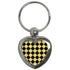 Square2 Black Marble & Yellow Watercolor Key Chains (heart)