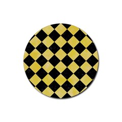 Square2 Black Marble & Yellow Watercolor Rubber Coaster (round)