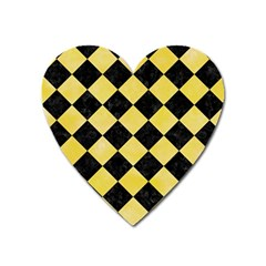 Square2 Black Marble & Yellow Watercolor Heart Magnet