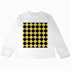 Square2 Black Marble & Yellow Watercolor Kids Long Sleeve T Shirts