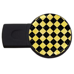 Square2 Black Marble & Yellow Watercolor Usb Flash Drive Round (4 Gb)