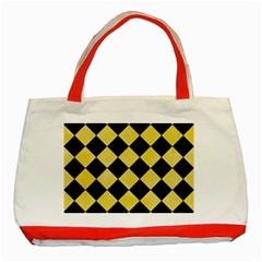 Square2 Black Marble & Yellow Watercolor Classic Tote Bag (red)