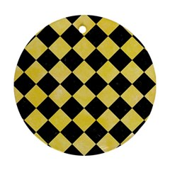 Square2 Black Marble & Yellow Watercolor Round Ornament (two Sides)