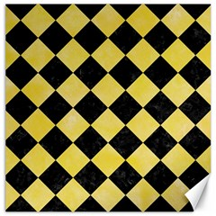 Square2 Black Marble & Yellow Watercolor Canvas 20  X 20