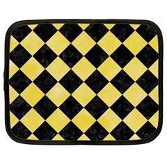 Square2 Black Marble & Yellow Watercolor Netbook Case (large)