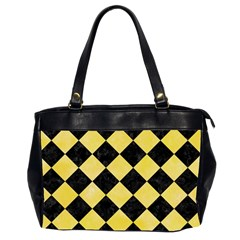 Square2 Black Marble & Yellow Watercolor Office Handbags (2 Sides)