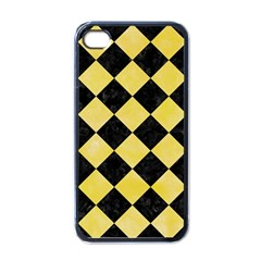 Square2 Black Marble & Yellow Watercolor Apple Iphone 4 Case (black)