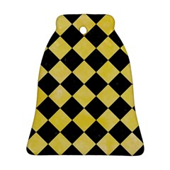 Square2 Black Marble & Yellow Watercolor Bell Ornament (two Sides)