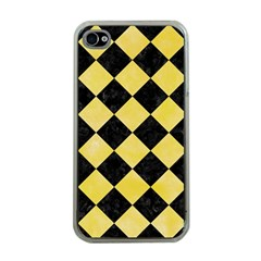 Square2 Black Marble & Yellow Watercolor Apple Iphone 4 Case (clear)