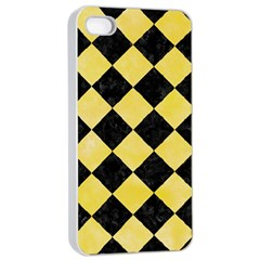 Square2 Black Marble & Yellow Watercolor Apple Iphone 4/4s Seamless Case (white)