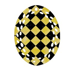 Square2 Black Marble & Yellow Watercolor Oval Filigree Ornament (two Sides)