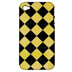 Square2 Black Marble & Yellow Watercolor Apple Iphone 4/4s Hardshell Case (pc+silicone)
