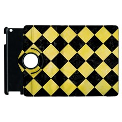 Square2 Black Marble & Yellow Watercolor Apple Ipad 3/4 Flip 360 Case