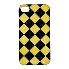 Square2 Black Marble & Yellow Watercolor Apple Iphone 4/4s Hardshell Case With Stand