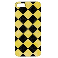 Square2 Black Marble & Yellow Watercolor Apple Iphone 5 Hardshell Case With Stand