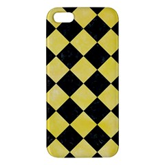 Square2 Black Marble & Yellow Watercolor Apple Iphone 5 Premium Hardshell Case