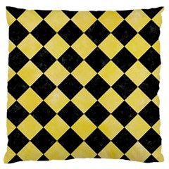 Square2 Black Marble & Yellow Watercolor Standard Flano Cushion Case (one Side)
