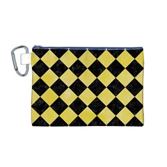 Square2 Black Marble & Yellow Watercolor Canvas Cosmetic Bag (m)